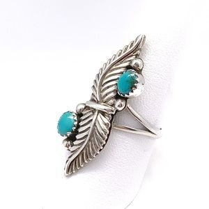 Fine Jewelry Jewelry - Sterling Silver Feather Ring w/ Turquoise Stones